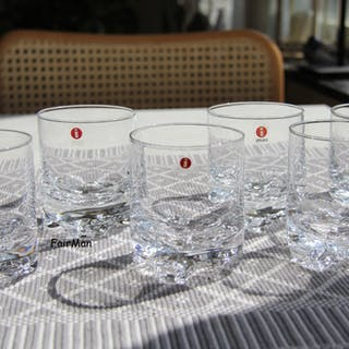 6 st iittala Gaissa Whiskyglas. 8,5 x 7 cm. Stora sorten. Fint skick. Whiskey