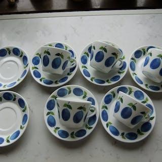 5 stycken kaffekoppar med fat Prunus Gustavsberg - Stig Lindberg - Original
