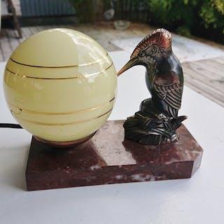 Bordslampa - Frankrike - Fågel - Klotlampa - Marmor - Metall - Art