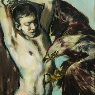 Prometheus und der Adler 58 x 51 cm Öl auf Leinwand  2017