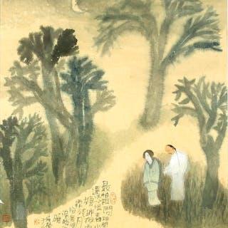 2 polychrome Tusche-Malereien, China, 20