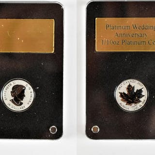 A cased Royal Canadian Mint Platinum Wedding Anniversary gold coin