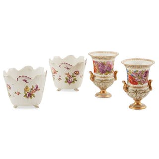 PAIR OF VIENNA PORCELAIN CACHE POTS  LATE 18TH CENTURY, LATE 18TH CENTURY