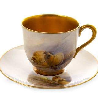 A ROYAL WORCESTER COFFEE CUP AND SAUCER BY A BARRY