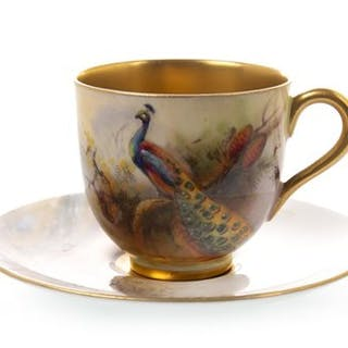 A ROYAL WORCESTER COFFEE CUP AND SAUCER