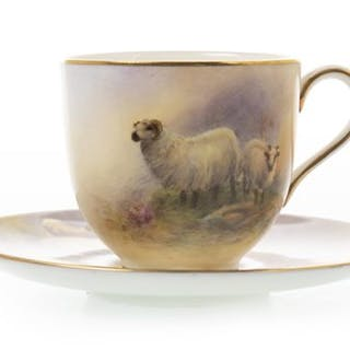 A ROYAL WORCESTER CUP AND SAUCER BY J SMITH