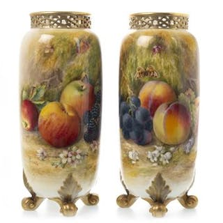 A PAIR OF ROYAL WORCESTER VASES BY WILLIAM RICKETTS