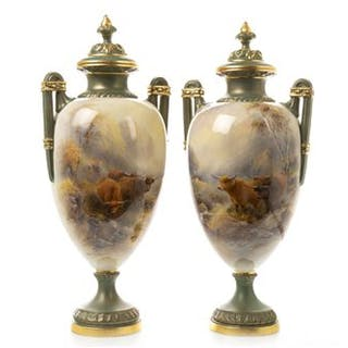 A ROYAL WORCESTER PAIR OF VASES BY JOHN STINTON