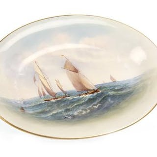 A ROYAL WORCESTER DISH BY RAYMOND RUSHTON