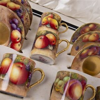 A ROYAL WORCESTER COFFEE SERVICE PAINTED WITH FRUIT