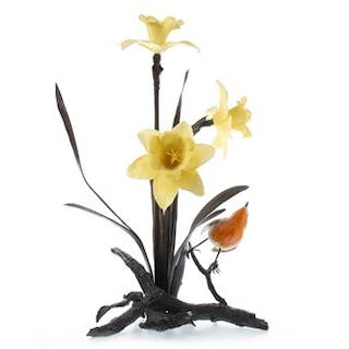 A ROYAL WORCESTER BRONZE FLORAL AND BIRD GROUP