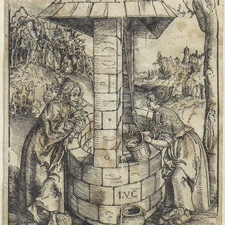 CHRIST AND THE WOMAN OF SAMARIA AT THE WELL, A WOODCUT BY LUCAS CRANACH