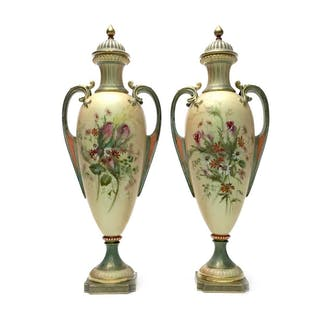 A PAIR OF ROYAL WORCESTER VASES