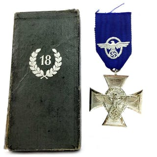 A THIRD REICH 18 YEARS LONG SERVICE POLICE CROSS