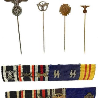 A LOT OF FOUR NSDAP POLITICAL PARTY STICK PINS AND TWO RIBBON BARS