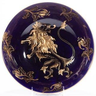 FRENCH COBALT LION PORCELAIN BOWL, having dark – Current sales