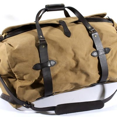 Filson Twill and Leather Duffle Bag