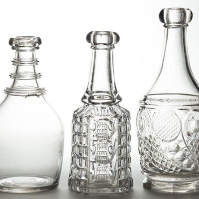 ASSORTED FLINT EAPG BAR DECANTERS, LOT OF TWO