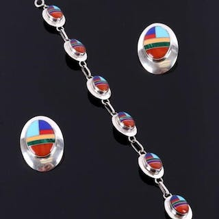 Zuni Sterling Silver Inlaid Bracelet and Earrings