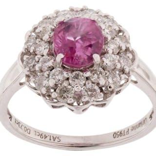 Kashmir Pink Sapphire & Diamond Platinum Ring
