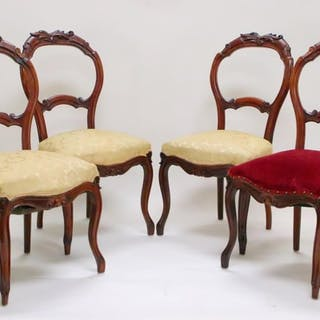 Set of 4 Antique Balloon Back Chairs