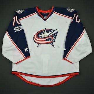 Korpisalo, Joonas White Set 2 w/ NHL Centennial Patch Columbus Blue