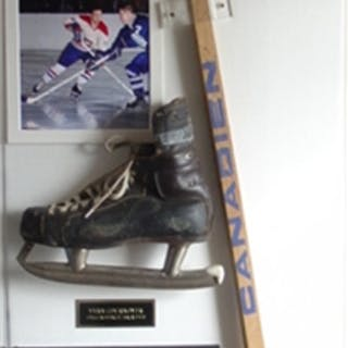 Cournoyer, Yvan Stick & Skate Display Montreal Canadiens 1960's & 1970's