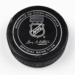 Philadelphia Flyers Game Used Puck February 9, 2013 vs the Carolina