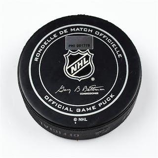 Philadelphia Flyers Game Used Puck March 2, 2013 vs the Ottawa Senators