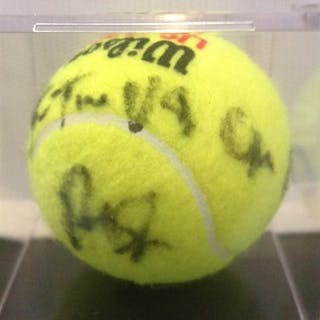 Sampras, Pete Autographed Tennis Ball with inscription 2012