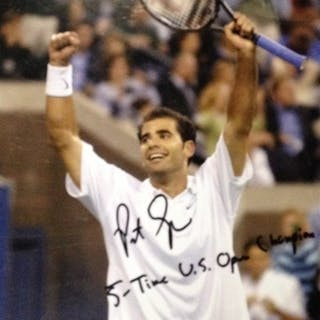 Sampras, Pete Autographed 8x10 with inscription of 5-Time US Open Champion 2012