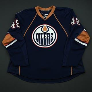 Plante, Alex Navy Set 1 - Game-issued Edmonton Oilers 2008-09 #48 Size: 58