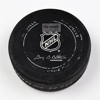 Philadelphia Flyers Game Used Puck * January 18, 2014 vs the New York