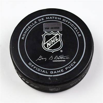 Philadelphia Flyers Game Used Puck * March 11, 2014 vs the New Jersey