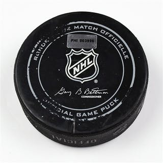 Philadelphia Flyers Game Used Puck * March 20, 2014 vs the Dallas