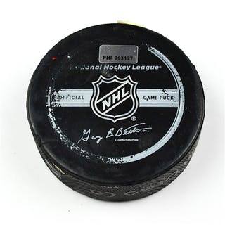 Philadelphia Flyers Game Used Puck * March 10, 2009 vs. Buffalo Sabres
