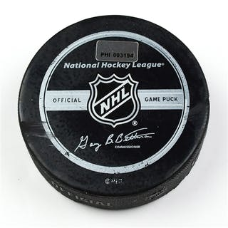 Philadelphia Flyers Game Used Puck * March 14, 2009 vs. New York Rangers