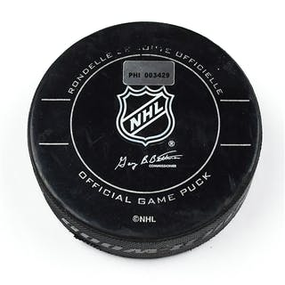 Philadelphia Flyers Game Used Puck January 19, 2010 vs. Columbus Blue