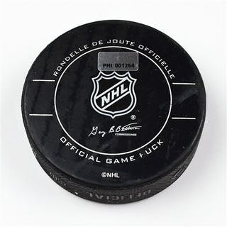 Philadelphia Flyers Game Used Puck * February 4, 2012 vs The New Jersey