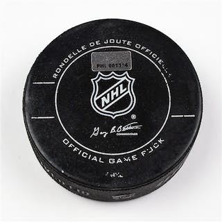 Philadelphia Flyers Game Used Puck * March 1, 2012 vs The New York