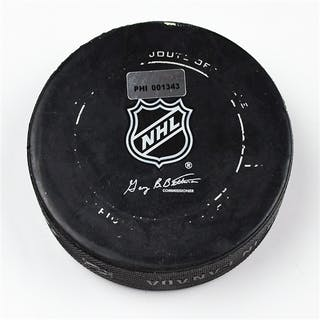 Philadelphia Flyers Game Used Puck * March 24, 2012 vs The Montreal