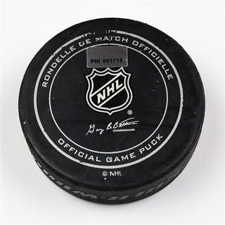 Philadelphia Flyers Game Used Puck February 7, 2013 vs the Florida
