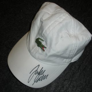 Isner, John White Lacoste Hat, Match and/or Practice-Used , Autographed