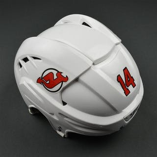 Henrique, Adam White, Warrior Helmet (shield removed) New Jersey Devils