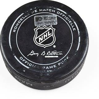 Philadelphia Flyers Game Used Puck December 8, 2015 vs. New York Islanders