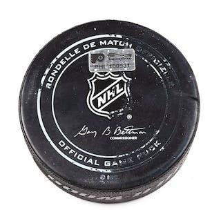 Philadelphia Flyers Game Used Puck December 17, 2015 vs. Vancouver
