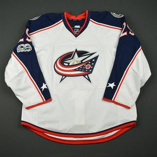 Korpikoski, Lauri White Set 2 w/ NHL Centennial Patch Columbus Blue