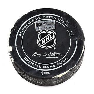 Philadelphia Flyers Game Used Puck March 3, 2016 vs. Edmonton Oilers