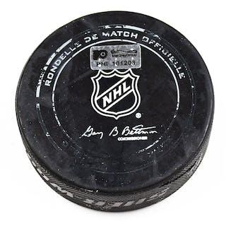 Philadelphia Flyers Game Used Puck February 6, 2016 vs. New York Rangers