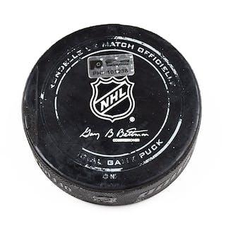 Philadelphia Flyers Game Used Puck February 11, 2016 vs. Buffalo Sabres